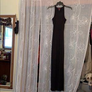 SOFT STRETCHY TIGHT BLACK MAXI DRESS W/ SIDE SLITS
